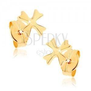 Kolczyki z żółtego złota 9K - lśniący krzyż maltański, wkręty obraz