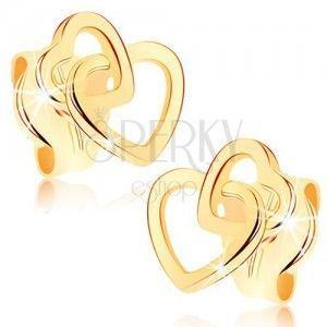 Kolczyki w żółtym 9K złocie - połączone zarysy dwóch symetrycznych serduszek obraz