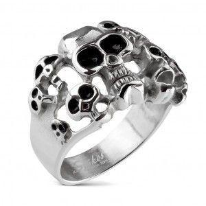 Pierścionek srebrnego koloru ze stali 316L - dziesięć czaszek z czarną emalią obraz