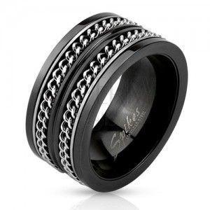 Czarna stalowa obrączka, dwa srebrne łańcuszki obraz