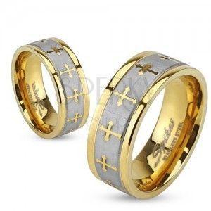 Pierścionek ze stali w złotym kolorze, srebrny satynowy pas, krzyże trójlistne obraz