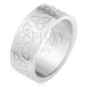 Stalowy pierścionek z wygrawerowanymi celtyckymi symbolami, Triquetra obraz