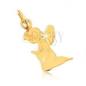 Wisiorek z żółtego złota 9K - grawerowany modlący się aniołek, lustrzany połysk obraz