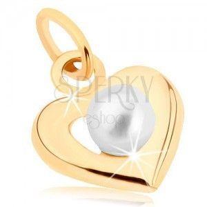 Złoty wisiorek 375 - szeroki zarys serca, biała okrągła perełka obraz
