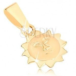 Wisiorek w żółtym 9K złocie - słonko z matową twarzą i błyszczącymi promieniami obraz