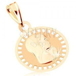 Wisiorek z żółtego 9K złota - okrągły medalik z Panną Maryją, lśniąco-matowy obraz