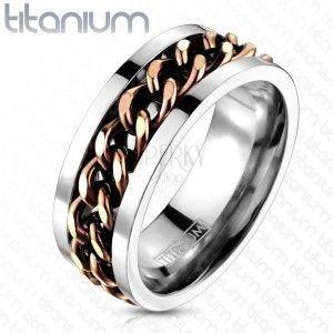 Tytanowy pierścionek - łańcuch miedzianego koloru obraz