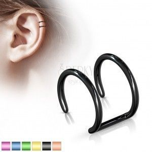 Fake piercing do ucha ze stali 316L - anodyzowane podwójne kółko obraz