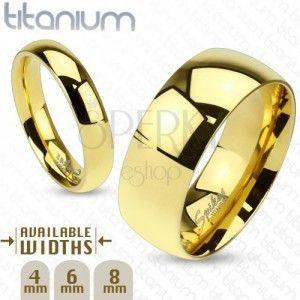 Lśniąca obrączka z tytanu złotego koloru o gładkiej wypukłej powierzchni, 6 mm obraz
