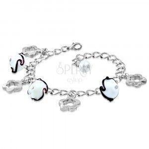 Bransoletka srebrnego koloru - błyszczący łańcuszek, kontury kwiatów, kwiaty z falami obraz