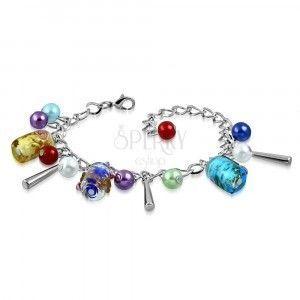 Łańcuszkowa bransoletka i wisiorki - sztuczne perły, kolorowe koraliki z różami obraz