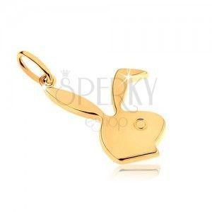 Wisiorek z żółtego złota 9K, lśniąca głowa króliczka obraz