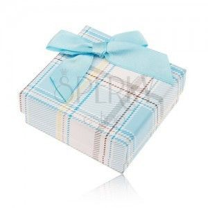 Pudełeczko prezentowe na pierścionek i kolczyki, kraciasty motyw, jasnoniebieska kokardka obraz