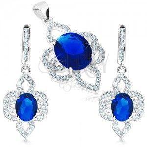 Zestaw ze srebra 925, zawieszka i kolczyki, kwiat - niebieska owalna cyrkonia, bezbarwne płatki obraz