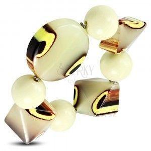 Elastyczna bransoletka - kremowe i szklane koraliki, pawica gruszówka obraz