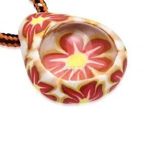Naszyjnik z trójkolorowym sznurkiem - łezka FIMO, kwiaty, przezroczysta kuleczka obraz