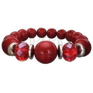 Streczowa bransoletka w kolorze bordowym - kuleczki o różnych rozmiarach, szlifowane czerwone koraliki obraz