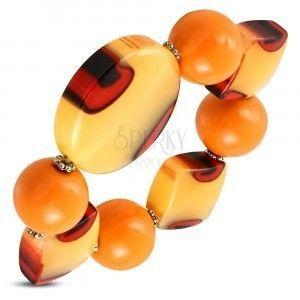 Elastyczna bransoletka - pomarańczowe kulki, mleczne szkło z pomarańczowym odcieniem, oczka obraz