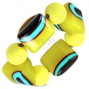 Elastyczna bransoletka - żółte kuleczki, koraliki z mlecznego szkła, turkusowo-brązowe oczka obraz