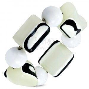 Elastyczna bransoletka - białe kuleczki, koraliki z melcznego szkła, czarno - białe oczka obraz