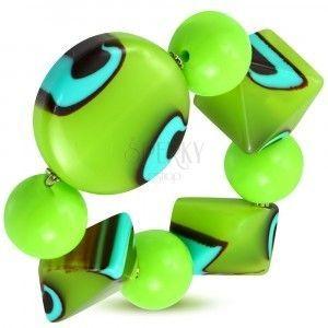 Elastyczna bransoletka - zielone kuleczki, koraliki z mlecznego szkła, turkusowo-brązowe oczka obraz