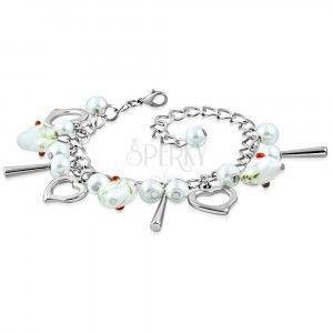 Bransoletka srebrnego koloru - kontury serc, serca z kwiatami, syntetyczne perły obraz
