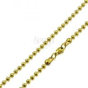 Łańcuszek ze stali złotego koloru - kuleczki oddzielone krótkimi pałeczkami, 2 mm obraz