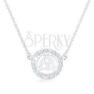Srebrny 925 naszyjnik - węzeł celtycki, cyrkonie, spiralny łańcuszek obraz
