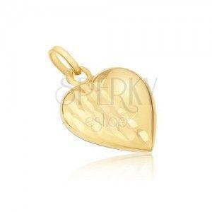 Wisiorek z żółtego 14K złota - regularne 3D serce, ozdobne nacięcia obraz