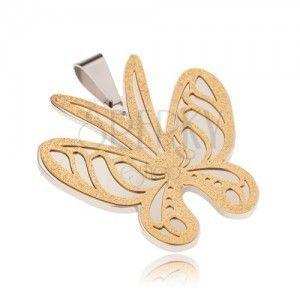 Złoto-srebrna zawieszka ze stali, motyl o piaskowanej powierzchni obraz