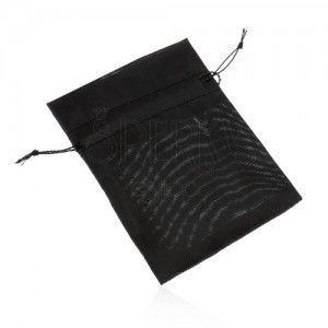 Woreczek z organzy na upominek, czarny kolor, gładka lśniąca powierzchnia obraz