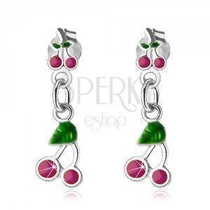 Wiszące kolczyki, srebro 925, czereśnie z różowo-fioletową i zieloną emalią obraz