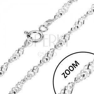 Spiralnie skręcony srebrny łańcuszek 925, płaskie ogniwa, 2, 4 mm obraz