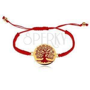 Bransoletka z czerwonych sznurków, okrągła zawieszka z czerwonym drzewem obraz