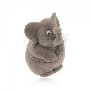 Upominkowe pudełeczko na pierścionek lub kolczyki - aksamitny szary słonik obraz