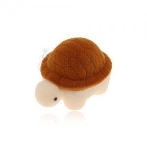Pudełeczko na pierścionek lub kolczyki, brązowo-kremowy aksamitny żółw obraz