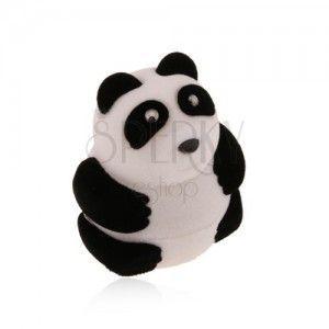 Upominkowe pudełeczko na pierścionek lub kolczyki, czarno-biała panda, aksamitna powierzchnia obraz