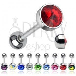 Kolczyk do języka - błyszczący kryształ w kształcie szpica obraz