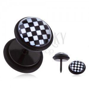 Okrągły fake plug do ucha - czarno-biała szachownica, emalia obraz