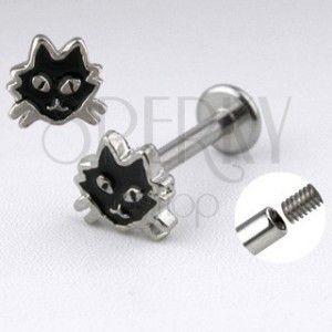 Stalowy labret srebrnego koloru - kot z czarną emalią obraz