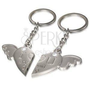 Breloczki dla pary - serce z anielskim skrzydłem, lekko grawerowany napis, cyrkonie obraz