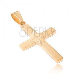 Zawieszka ze stali chirurgicznej w złotym kolorze, lśniący krzyż, matowa strzałka obraz