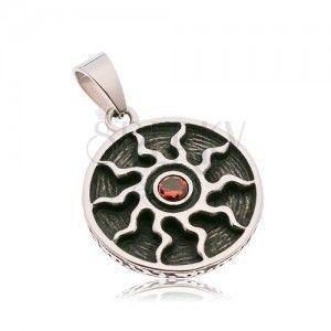 Okrągła patynowana zawieszka ze stali 316L, symbol słońca z czerwoną cyrkonią obraz