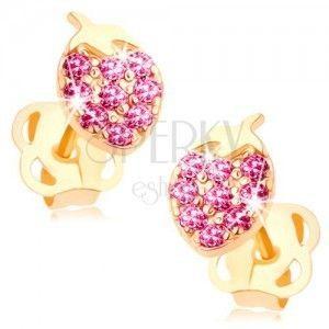Kolczyki w żółtym 14K złocie - lśniąca truskawka wyłożona różowymi cyrkoniami obraz