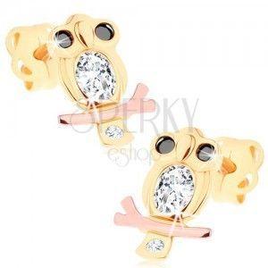 Kolczyki w 14K złocie - mądra sowa z przezroczystym brzuszkiem i czarnymi oczami obraz