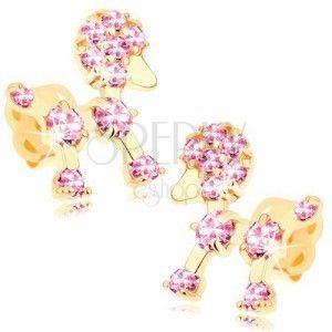 Złote kolczyki 585 - mały pudelek ozdobiony różowymi cyrkoniami obraz