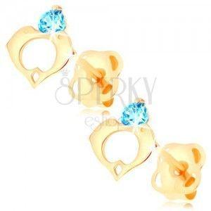 Kolczyki w żółtym 14K złocie - niebieska cyrkonia, kontur serca z dwóch delfinów obraz