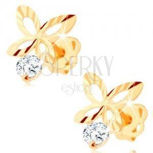 Złote kolczyki 585 - błyszczący motylek z rysami i wycięciami na skrzydłach, cyrkonia obraz