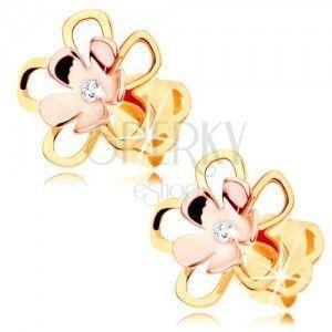 Kolczyki z 14K złota - lśniący dwókolorowy kwiatek z przezroczystą cyrkonią pośrodku obraz