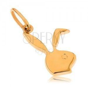 Płaski wisiorek z żółtego złota 9K - głowa króliczka obraz